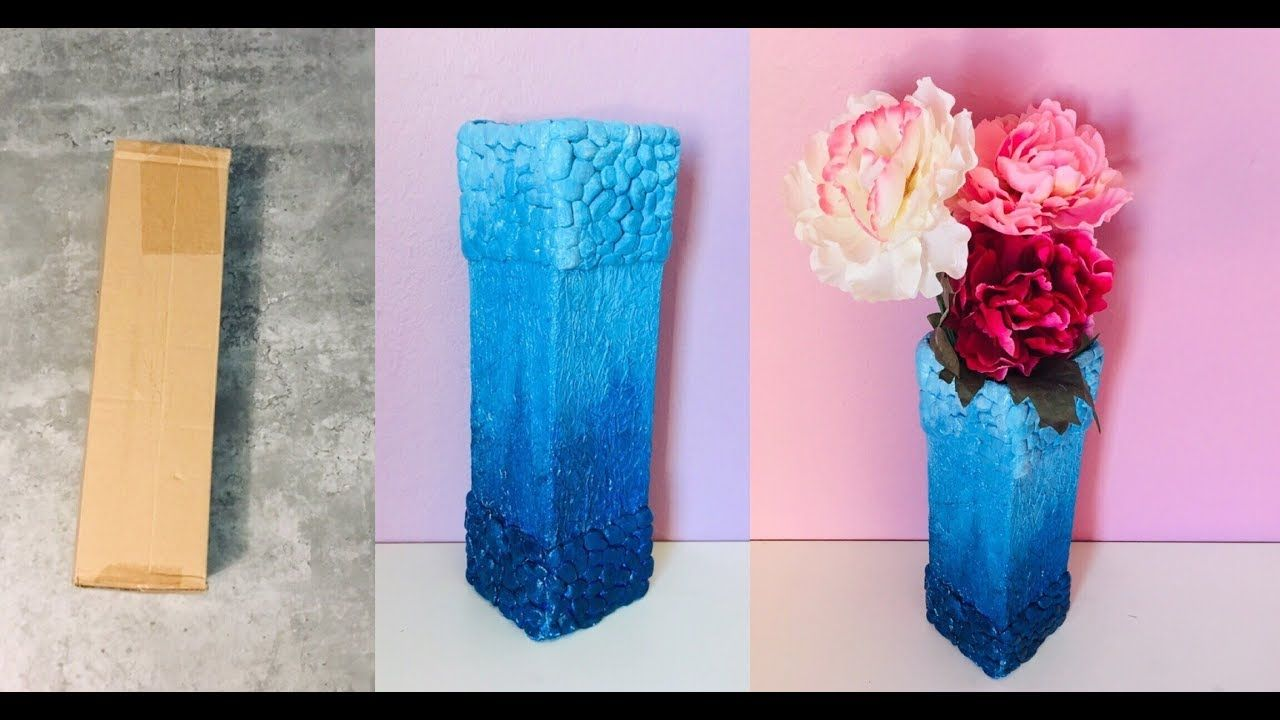 Pinterest & DIY | Flower Vase from cardboard | how to make flower vase ...