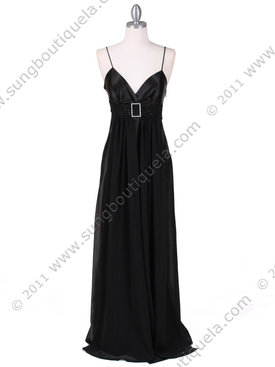 Black Satin Evening Gown. Get yours today at www.SungBoutiqueLA.com