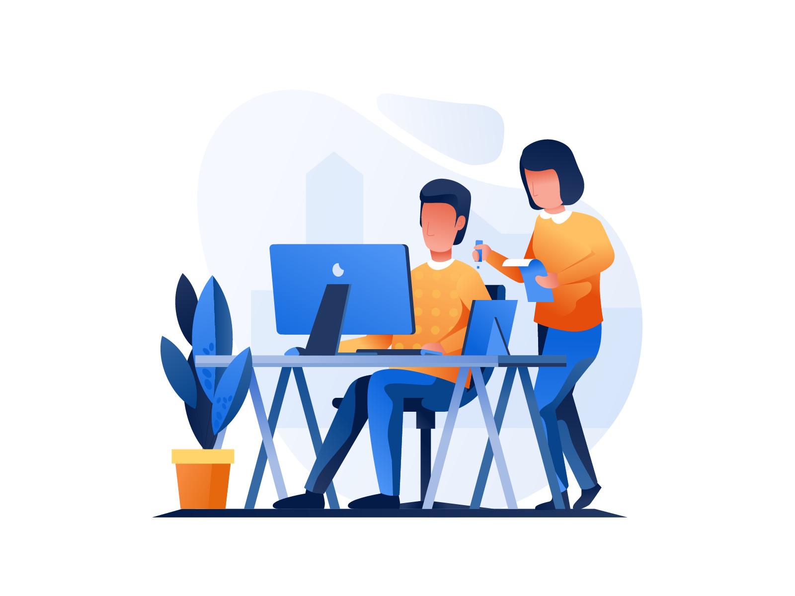 Work & Office Illustrations Illustration design