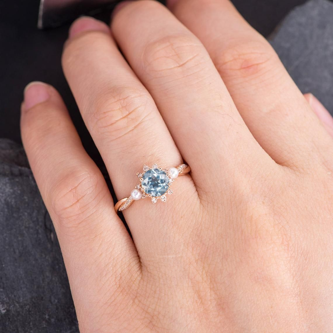 Aquamarine Engagement Ring Rose Gold Infinity Wedding Band