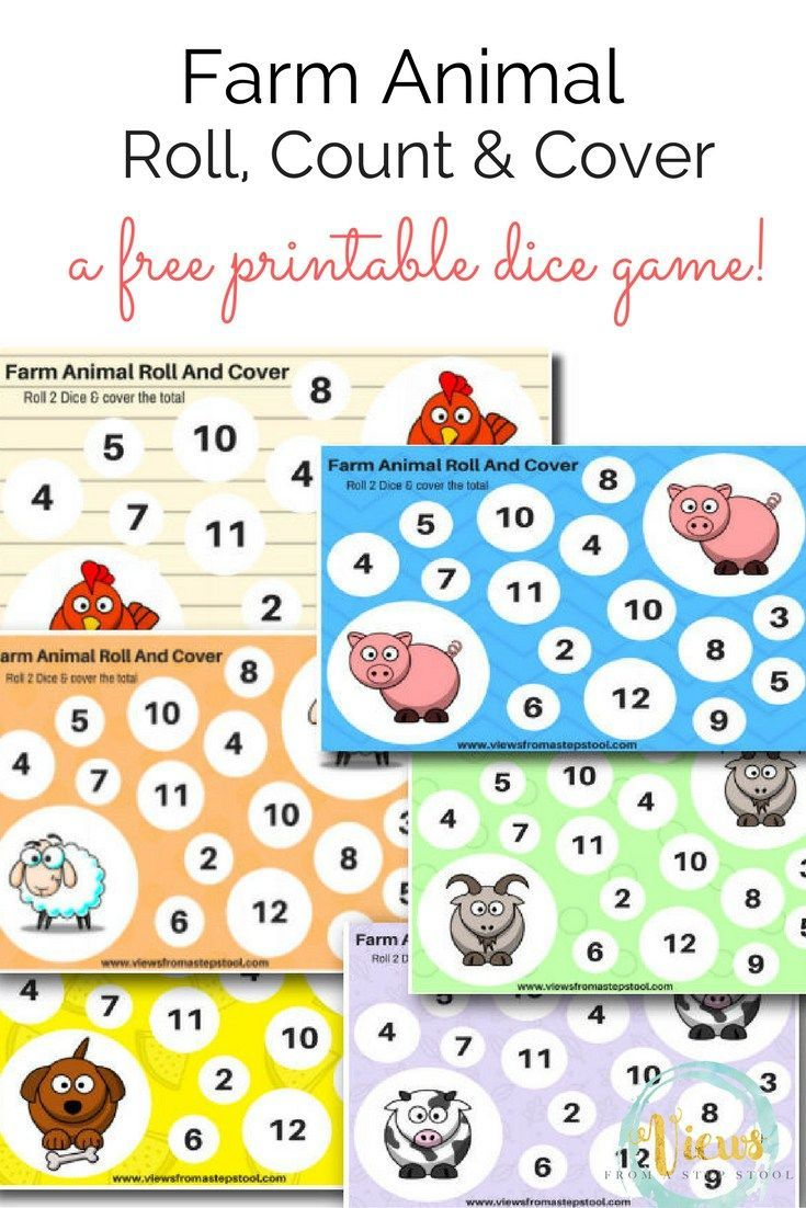 Farm Animal Printable Dice Games: A Roll, Count and Cover ...