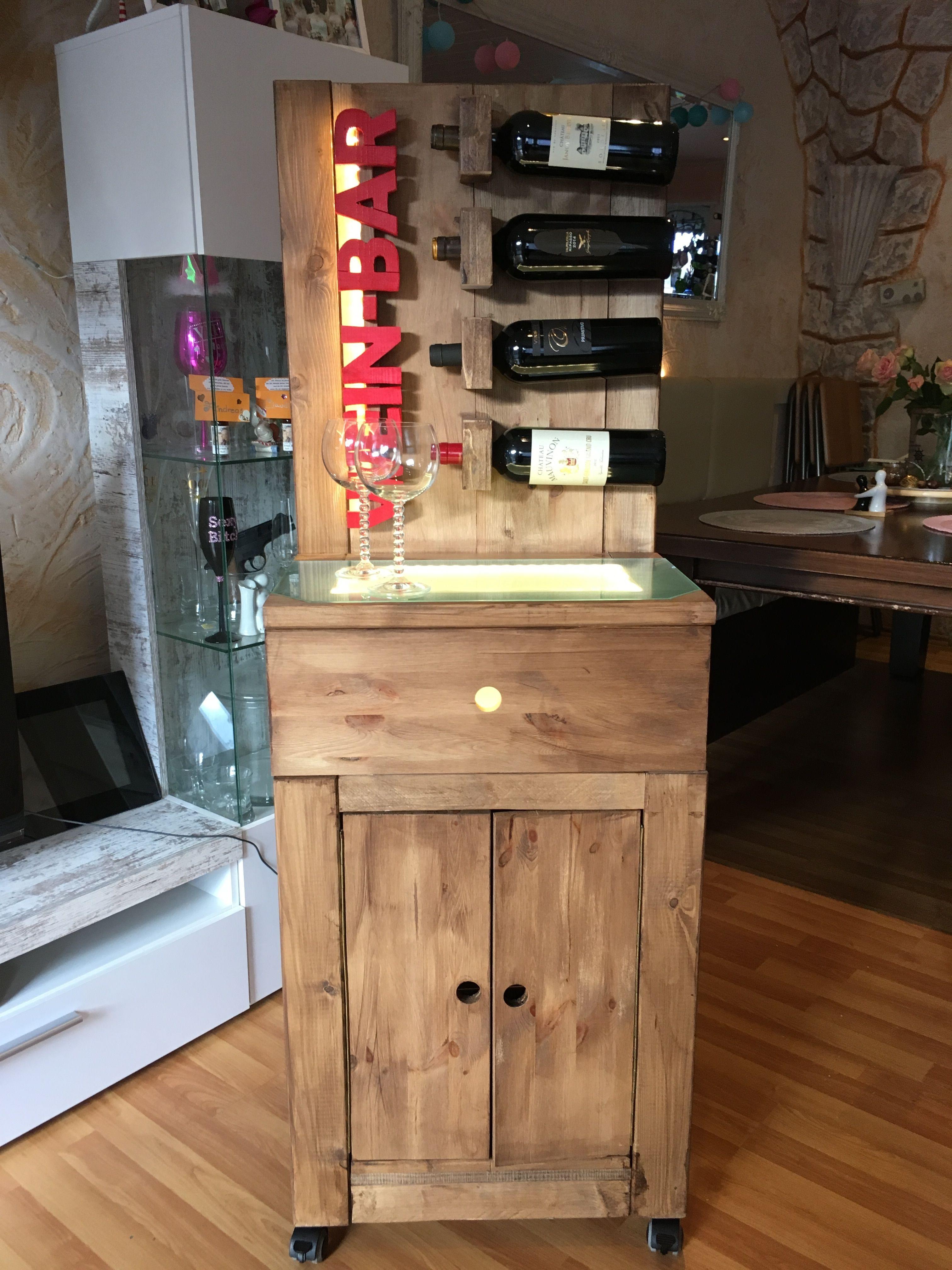 Wein-Bar beleuchtet Bauanleitung zum selber bauen | Holzmöbel ...