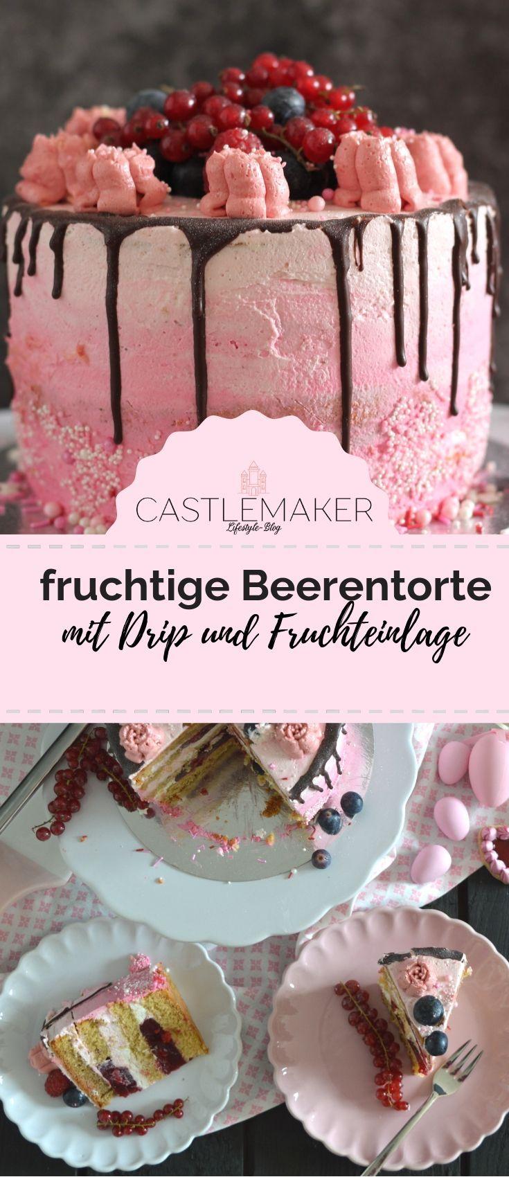 Fruchtige Torte im Ombre-Look mit Himbeeren & Heidelbeeren // Drip Cake – BACKEN | Geburtstagskuchen Rezepte – Ausgefallene  Torten, Kuchen etc.