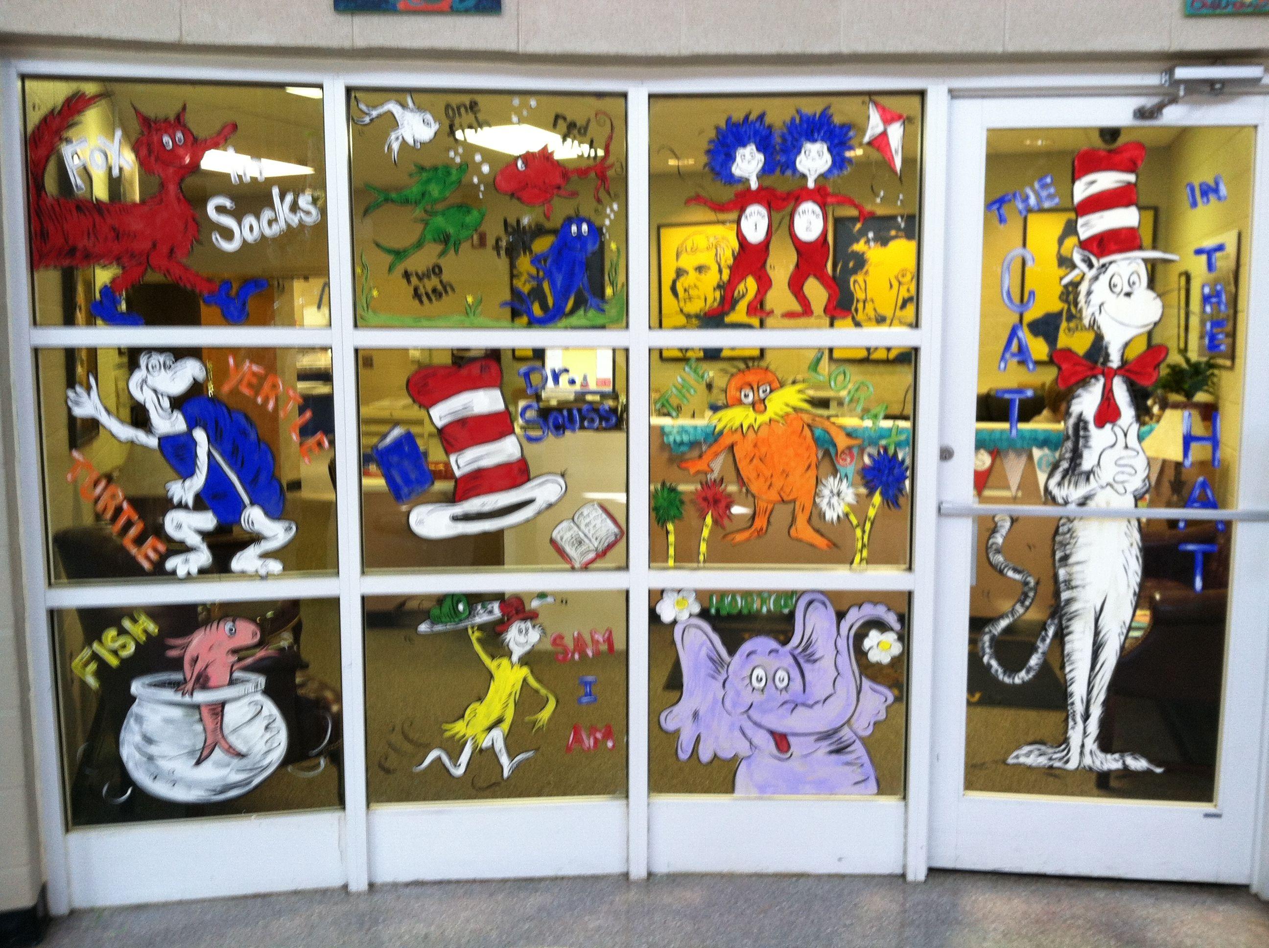 School Decorations ~ Painted glass (windows and door) Dr. Seuss week ~ Cat