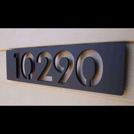 Signe D Adresse Contemporain Audacieux Signe Moderne Moderne De Nombre De Maison Moderne De Coutume Dans L Aluminium Enduit En Poudre Numero Maison Maison Flottante Signes De Numero De Maison