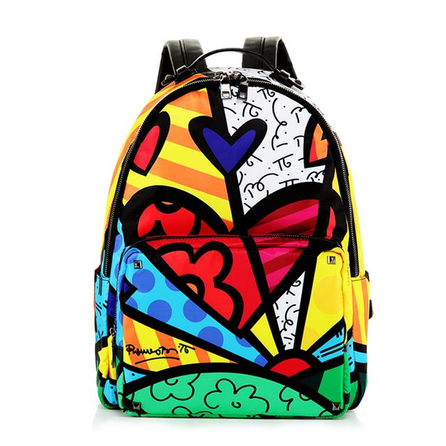 New Small Soft Canvas Rucksack//Backpack Emoji// Heart Pattern Black Red