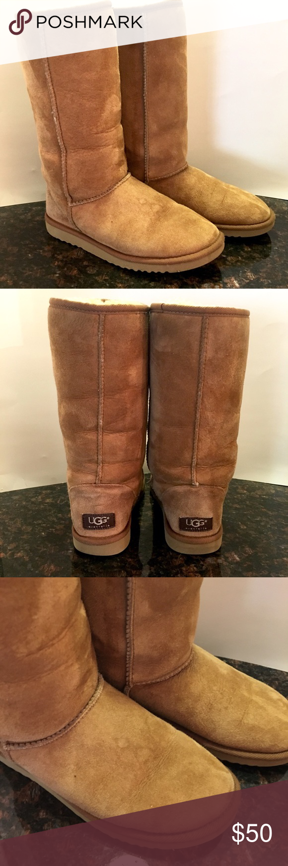 UGG Classic Tall Chestnut Boot UGG Classic Tall chestnut boot  These UGGs have been worn. The right boot has a light water stain and the left boot has a drip mark shown in the photos.   These weren't worn a ton and are still in great condition.  Woman's size 5 UGG Shoes Winter & Rain Boots