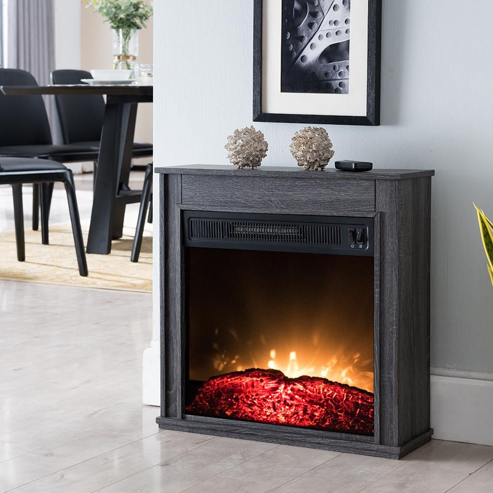 Hampton Bay 23 In Compact Electric Fireplace In Black Products