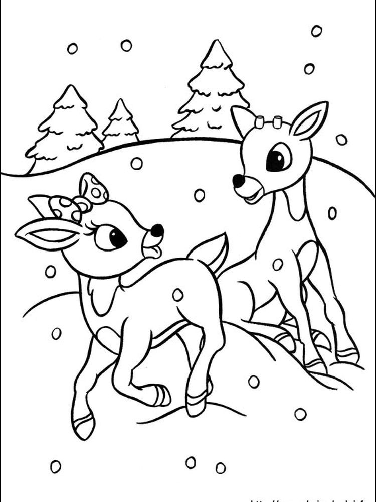 Red Nosed Reindeer Coloring Page To Download Following This Is