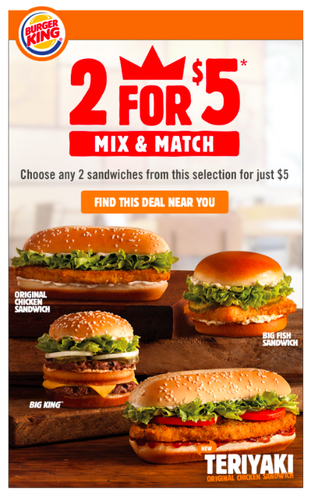 2 Sandwiches For 5 Burger King May 2015 Burger Burger King Chicken Burgers