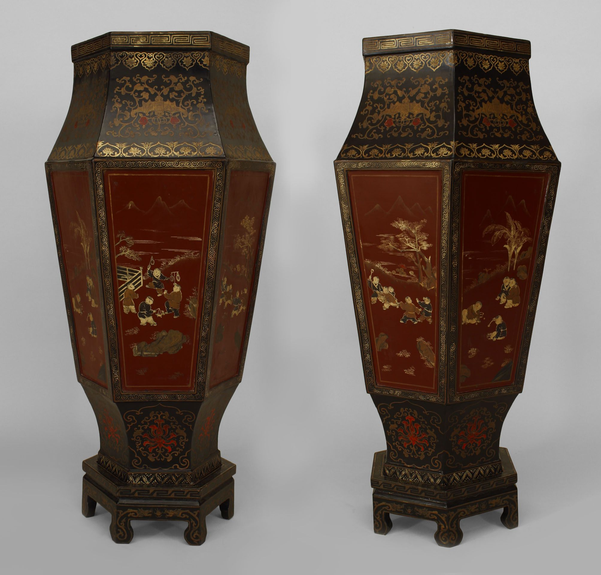 Pair of english regency style red and black lacquered 6 sided pair of english regency style red and black lacquered 6 sided chinoiserie decorated floor vases on reviewsmspy