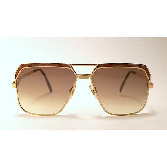80da63554243 Vintage 80s CAZAL 719 Metal Gold Tone Sunglasses with Tortoise Print