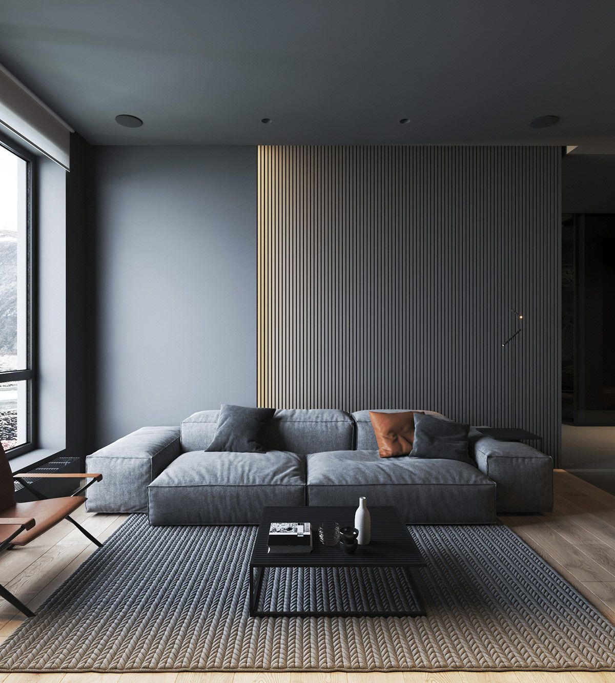 How To Use Lighting And Textures To Add Interest To Dark Interiors Apartment Design Dark Interiors Living Room Interior