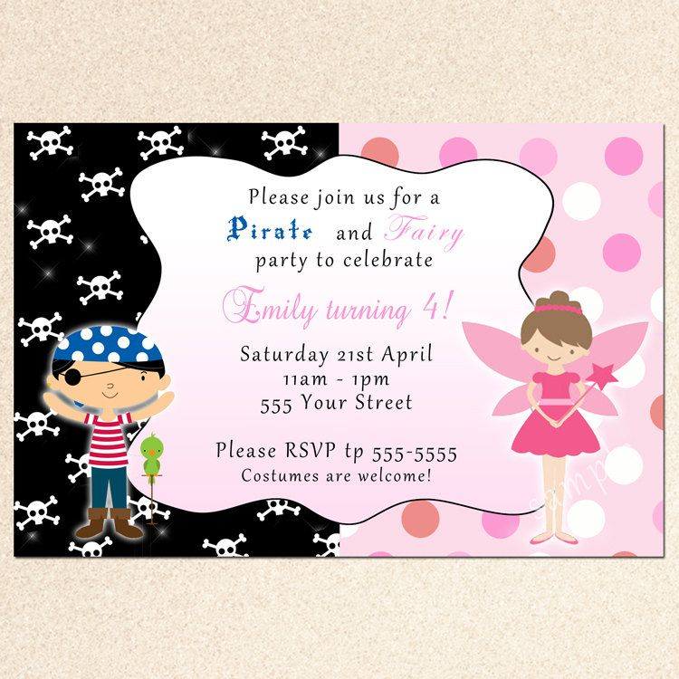 Pirate and Fairy Party Invitation Cute idea for shared birthday ...