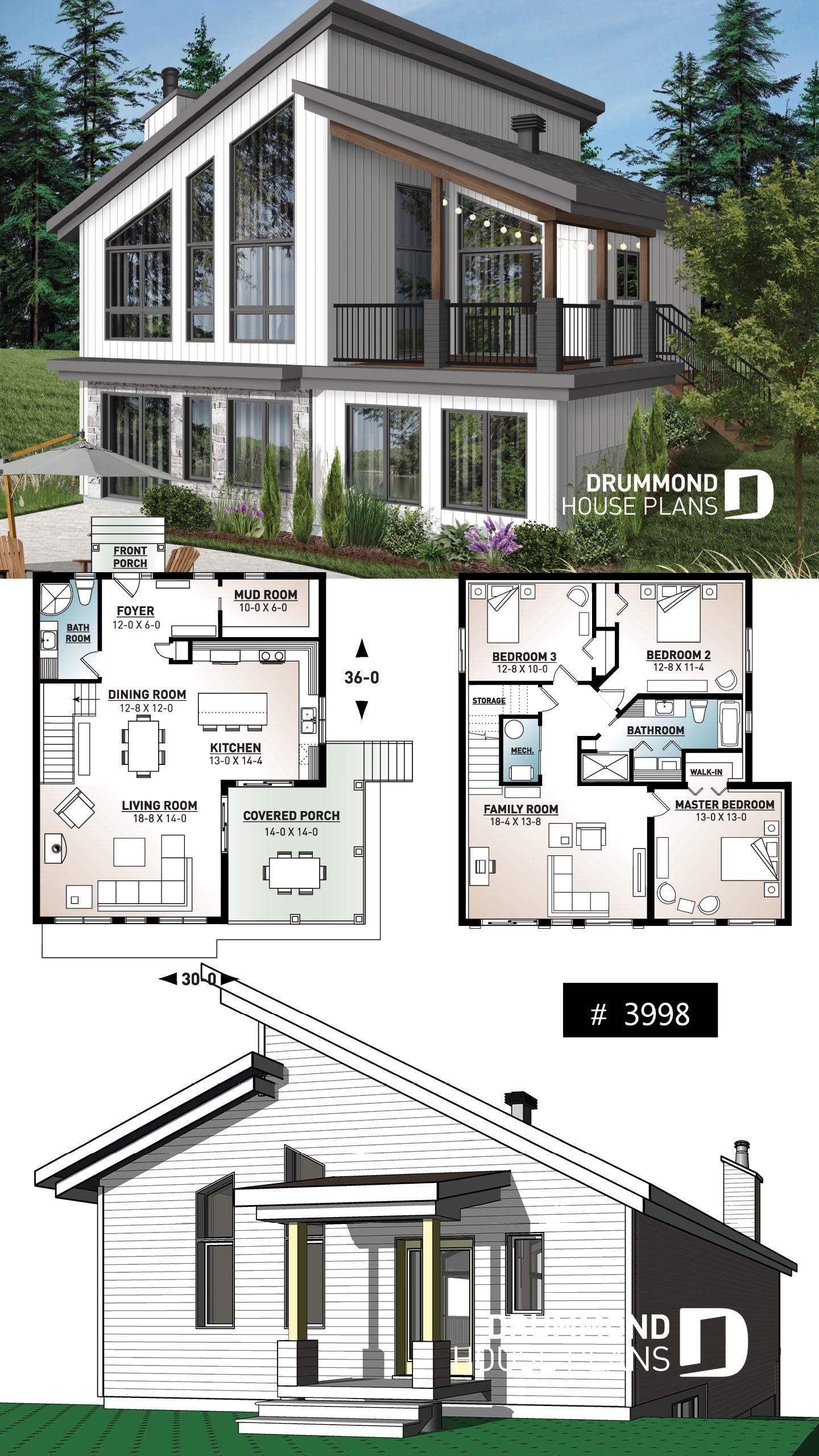 Ski chalet house plan  inverted living and panoramic view Ski or mountain cottage plan with walkout basement large covered deck 3 beds 2 bathrooms open concept