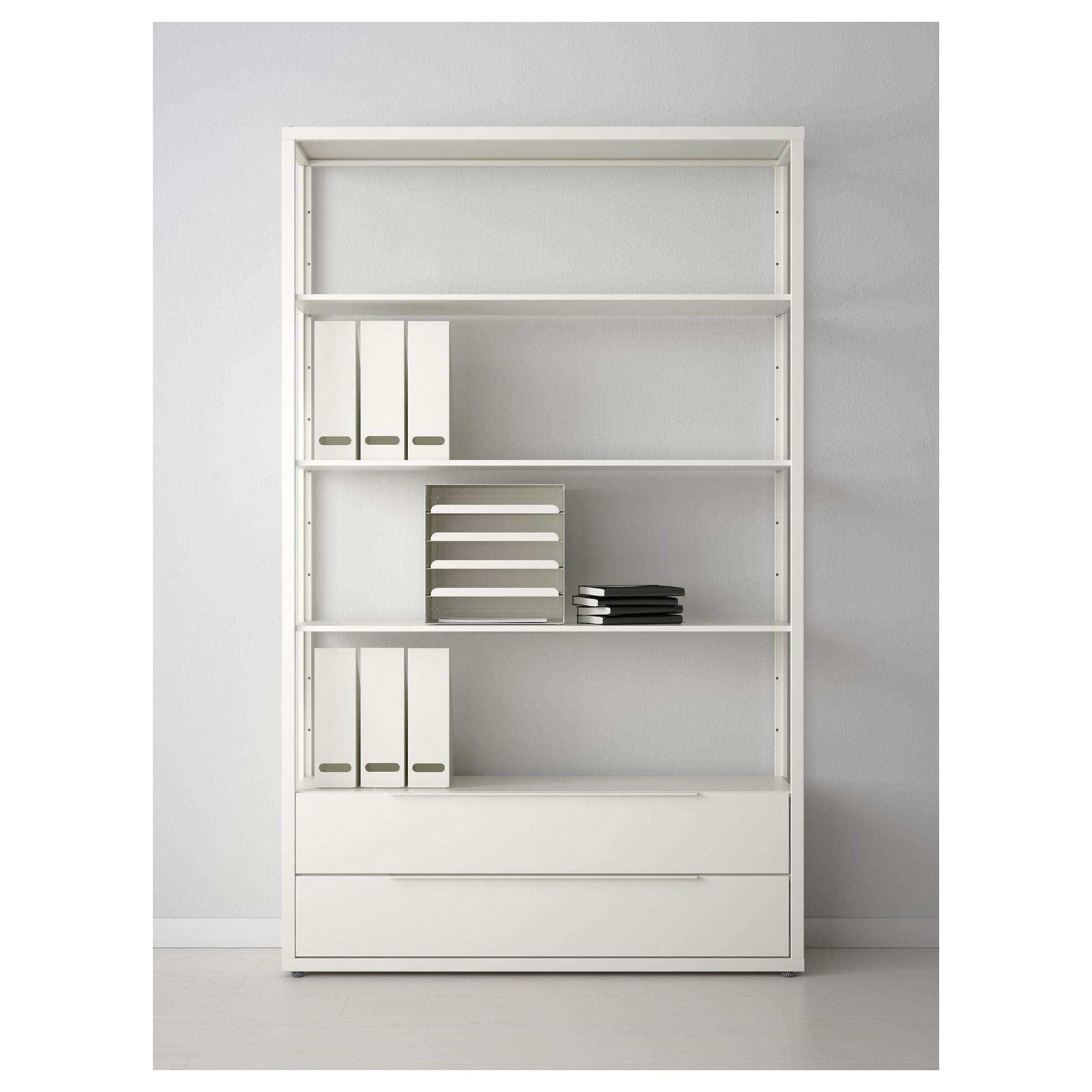 FJÄLKINGE Shelf unit with drawers, white, 46 1/2x13 3/4x76