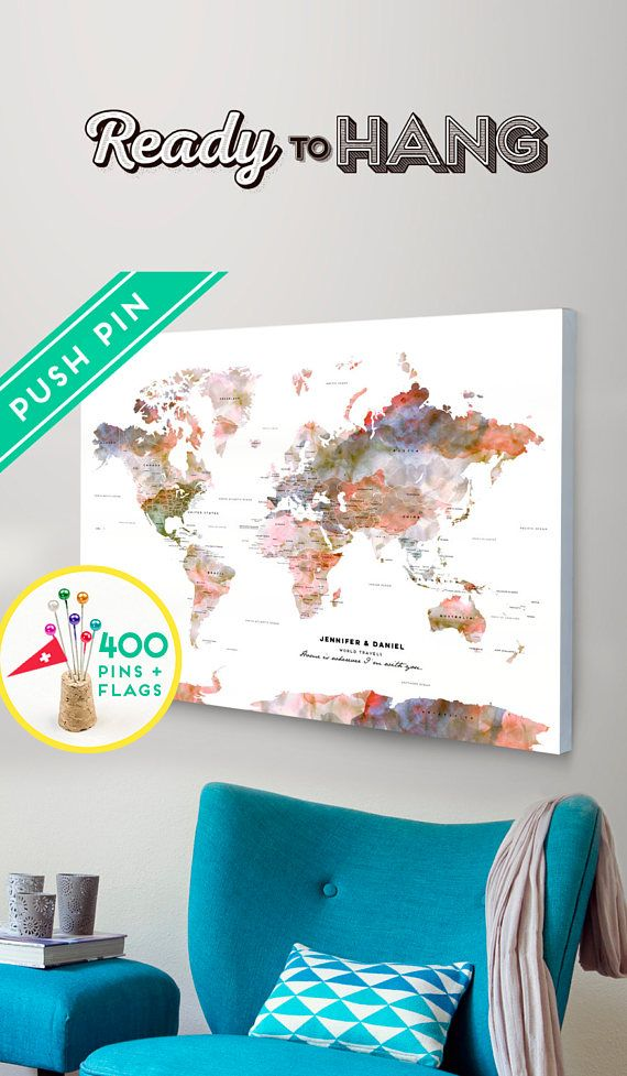 Personalized push pin large world map canvas terra watercolors personalized push pin large world map canvas terra watercolors gumiabroncs