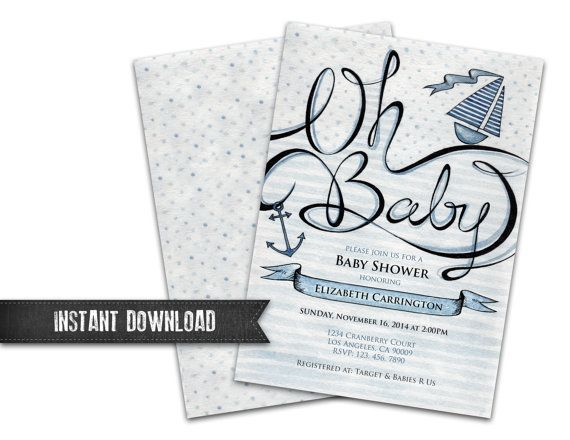 Nautical Baby Shower Invitation Oh Sailboat Anchor Printable Diy Instant