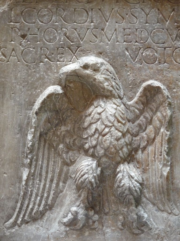 Ancient roman relief carving of an eagle courtesy