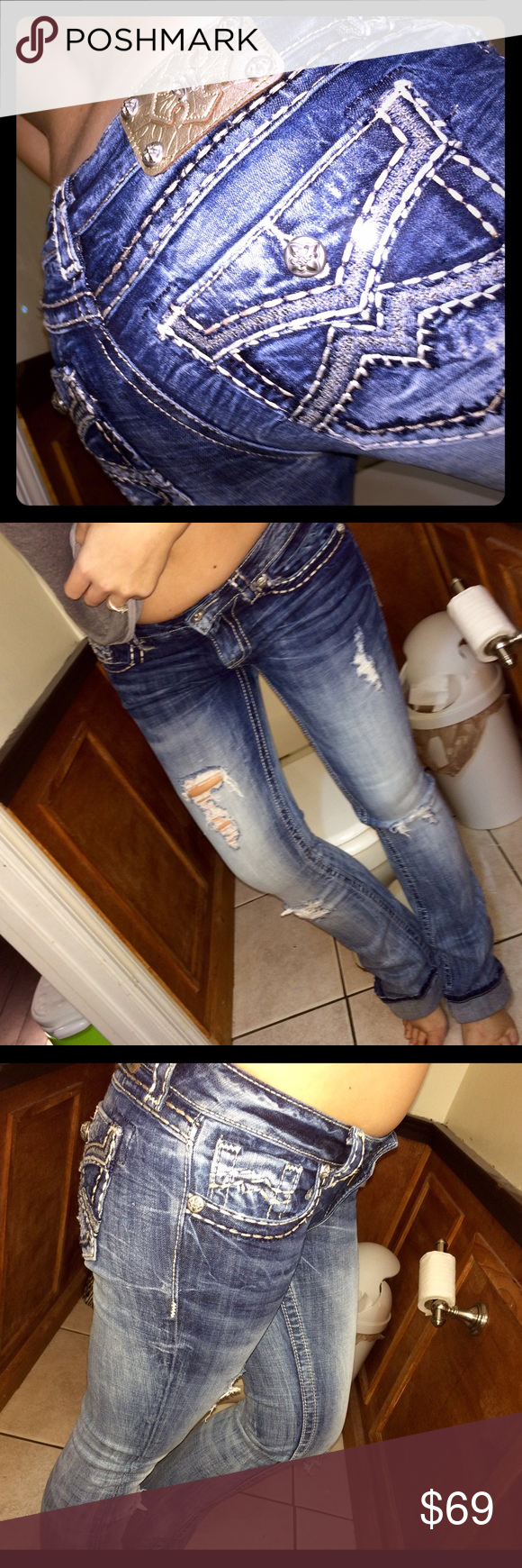 Miss me sz 28 destroyed boot Sz 28.. inseam 34.. sequins on back pockets.. destroyed Miss Me Jeans Boot Cut