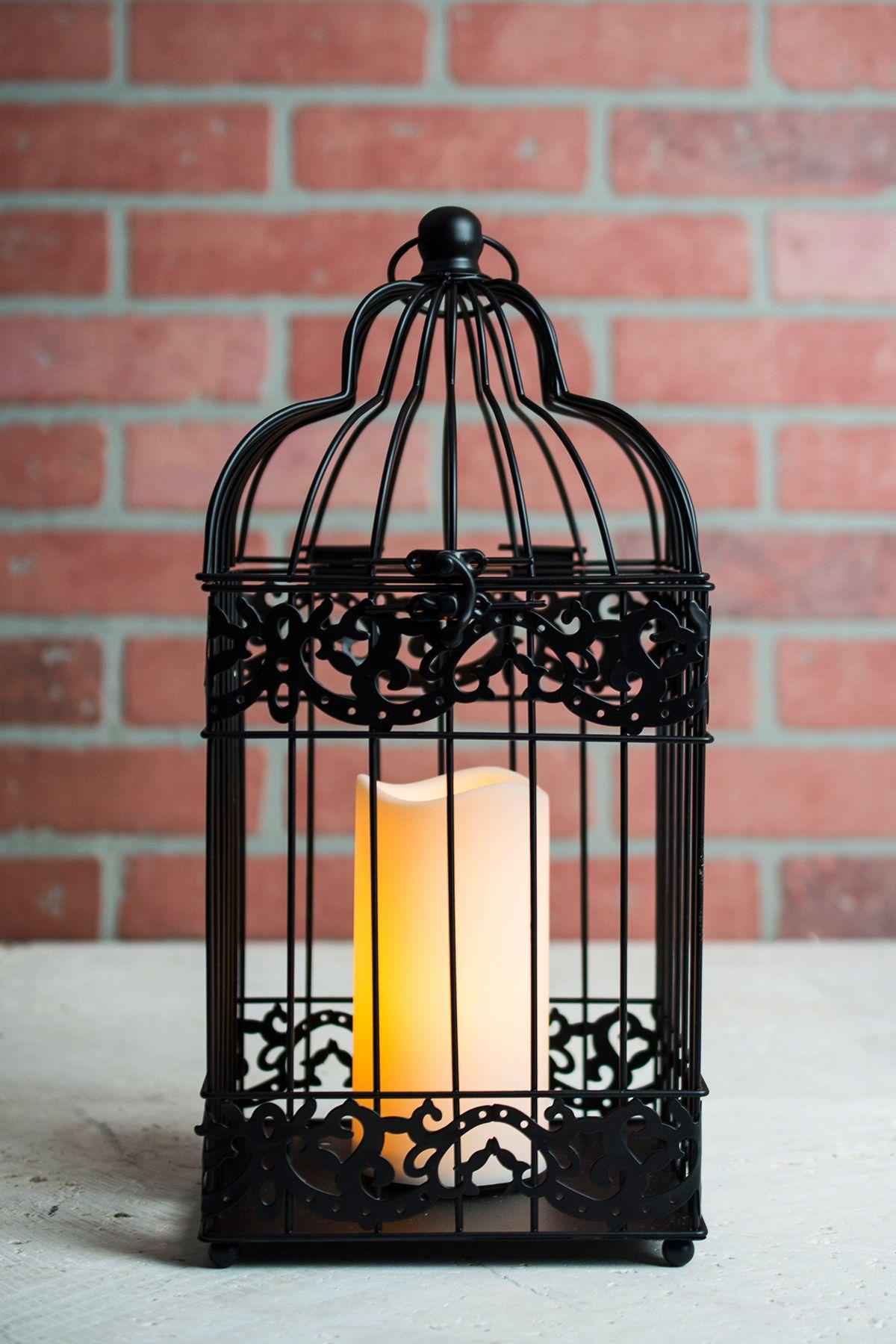Black Bird Cage Candle Lantern Battery Operated 15in Lanterns Make A Great Cente Linternas De Velas Decoracion De Jaula Centros De Mesa Con Jaulas Decorativas