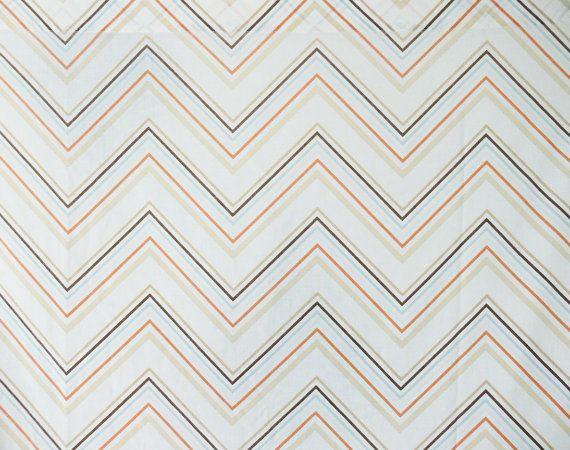 Vintage 70s Chevron Striped Full Flat Sheet Bed Linens Bedding Orange Brown Tan Blue Orange Bedding Vintage Laundry Room Chevron Stripe