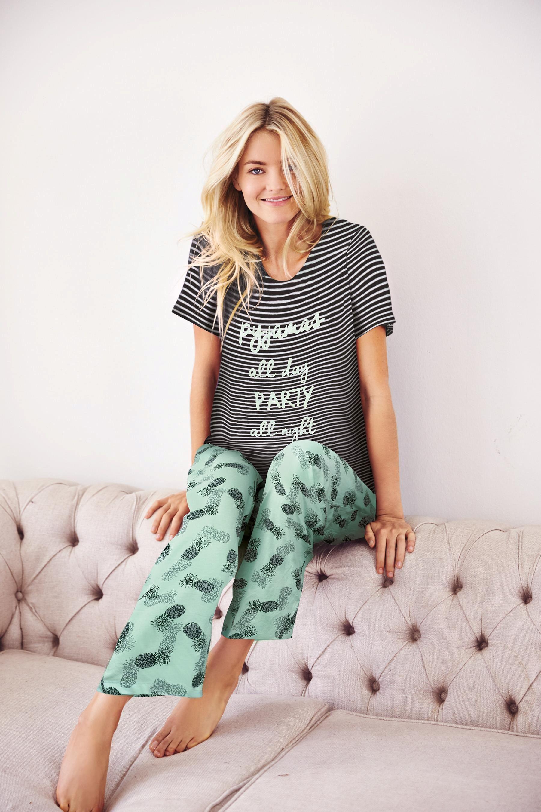 e2b955a532 Buy Mono Stripe Pineapple Print Pyjamas from the Next UK online shop ...