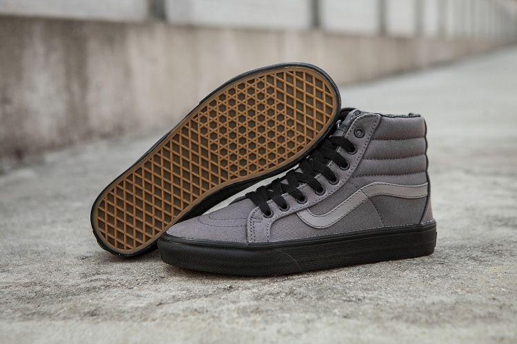1641a65b28c0d0 Vans SK8-Hi Reissue Grey Canvas Black Outsole Skate Shoe  Vans ...