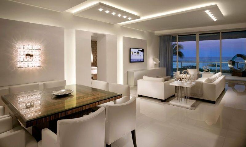 Abgehängte Deckenbeleuchtung indirekte beleuchtung für decke und wand im wohnzimmer abgehängte