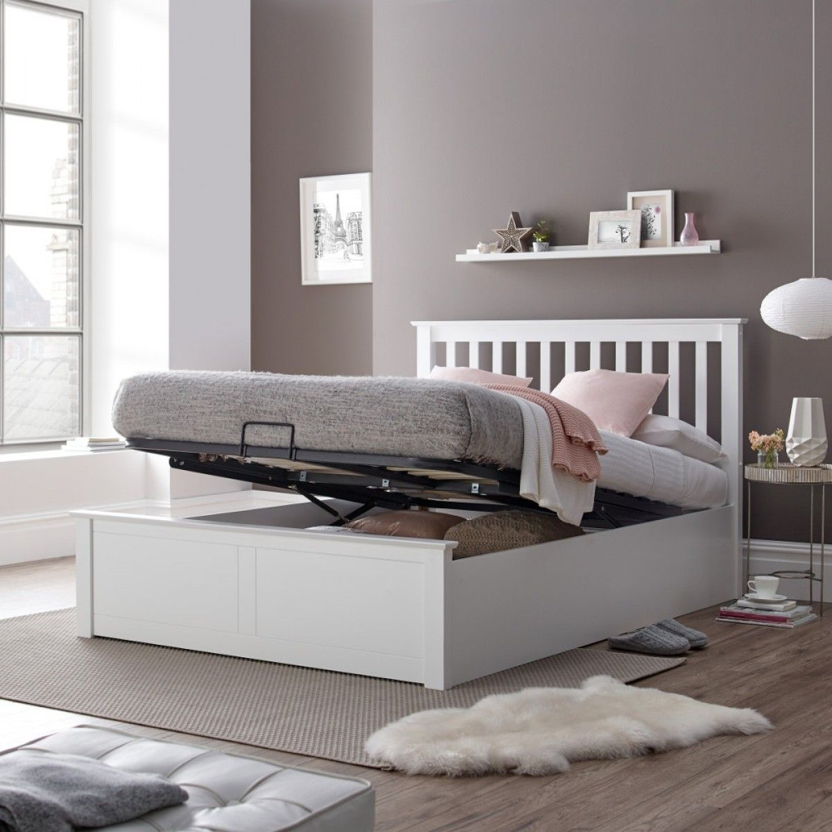 Malmo White Wooden Ottoman Bed White Wooden Bed Ottoman Bed
