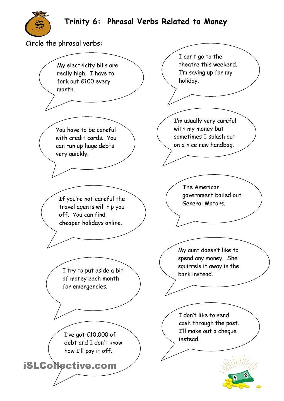 Phrasal Verbs Related To Money Money Worksheets Printable Worksheets Money Math Worksheets [ 1440 x 1018 Pixel ]
