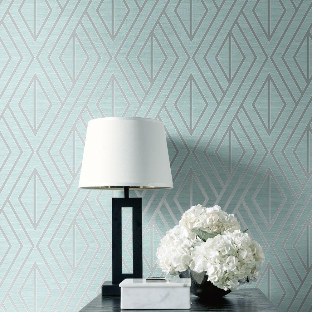 Geometric Wallpaper Aqua And Silver Pear Tree Uk30512 Geome