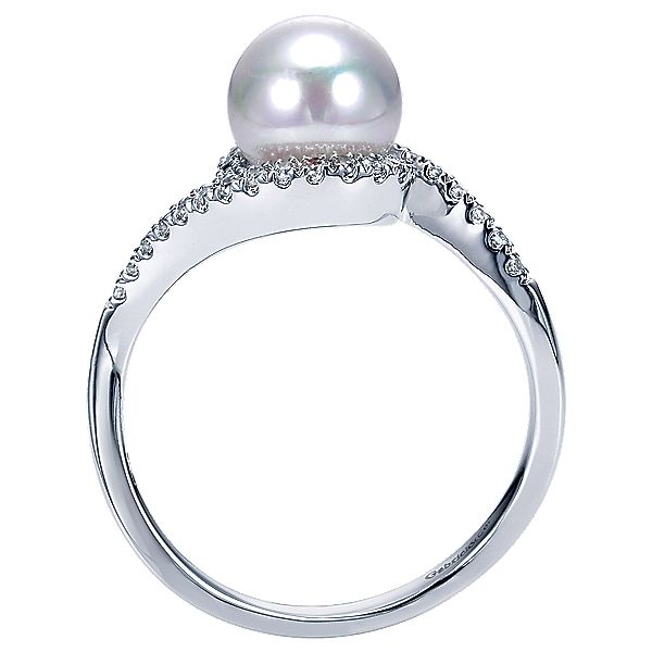 14k White Gold Lusso Color Style  Fashion Ladies' Ring With  Diamond  With Pearl.