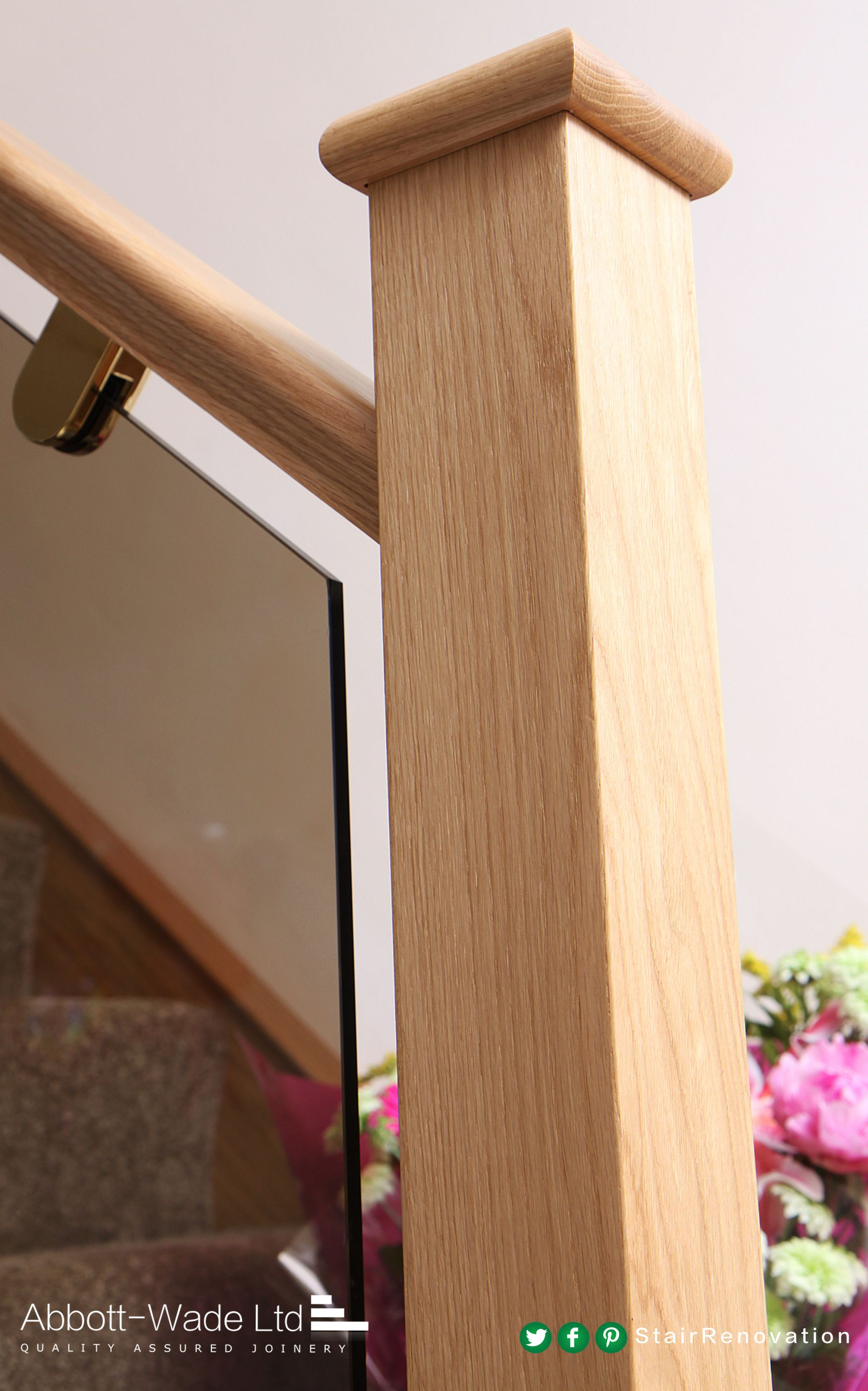 Oak staircase renovation with bronzed glass balustrade