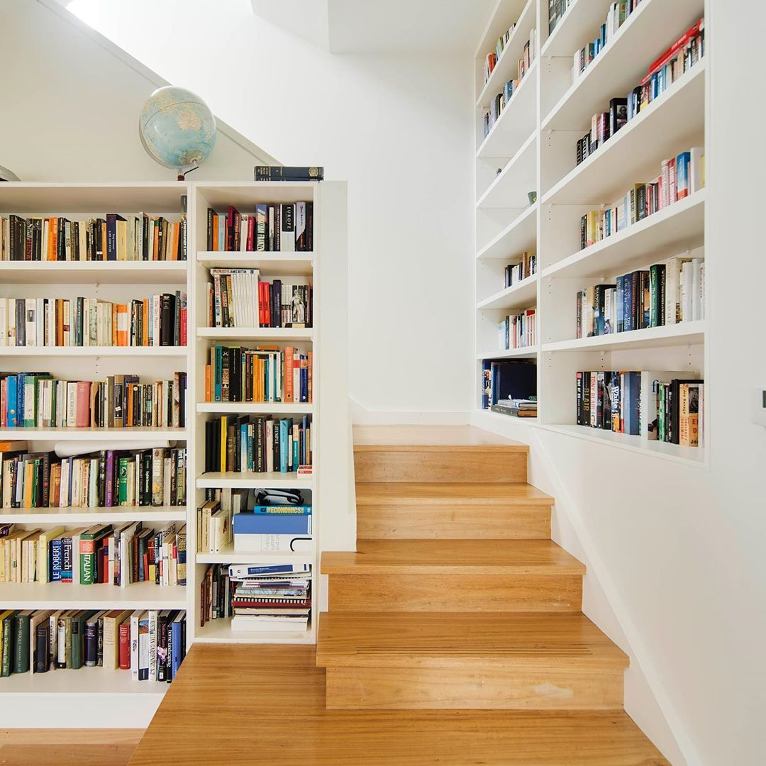 Rebecca Naughtin Architect S Instagram Photo Throwback To Our Favourite Personal Library At Albie S House In Northcote Photogr Stairs Design Home Bookcase