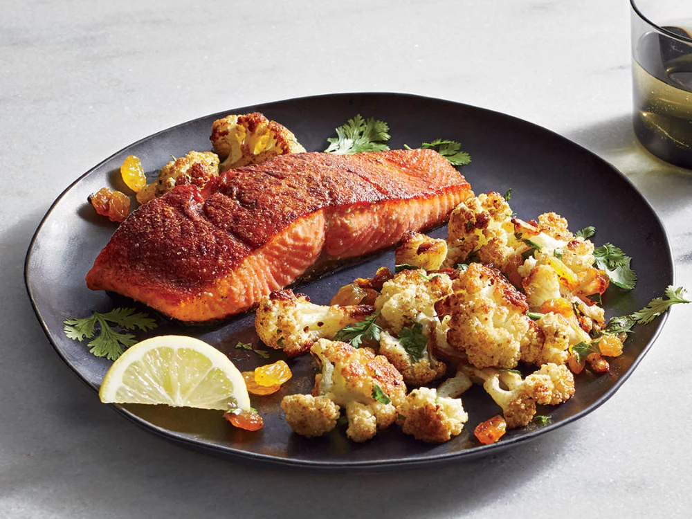 Spice-Roasted Salmon with Roasted C