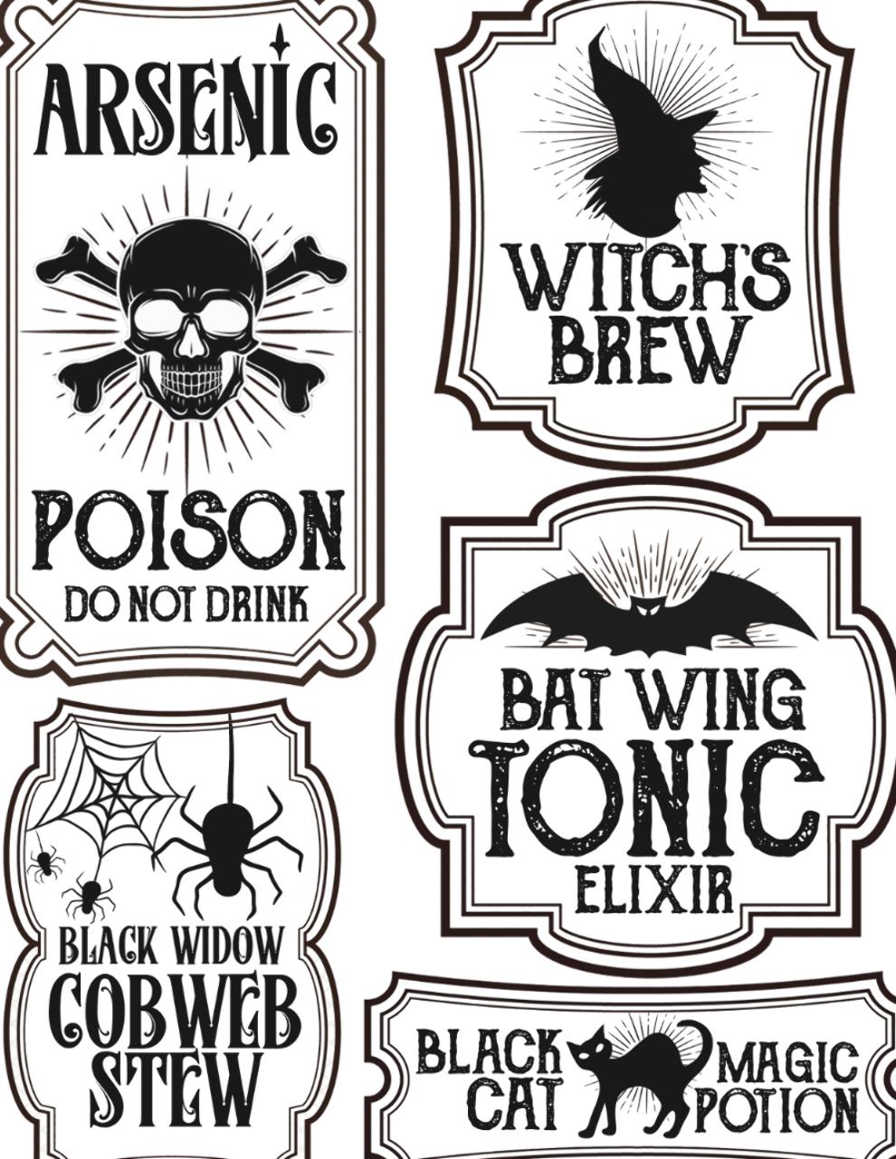 Halloween Bottle Labels Free Printables Potions Labels In 2020 Halloween Bottle Labels Halloween Bottles Halloween Labels