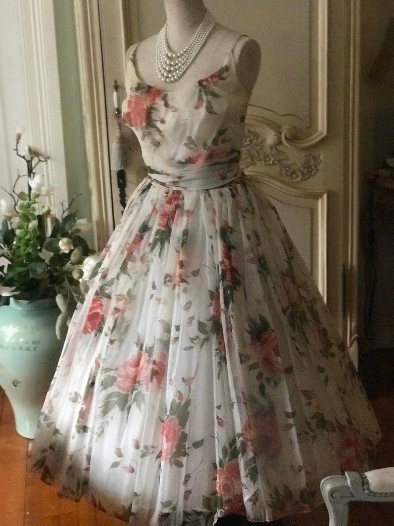 Reserved Debbie 1950s Large Roses Floral Dress Tea Party Mad Etsy Tea Party Dress Tea Party Outfits Floral Dress [ 1059 x 794 Pixel ]
