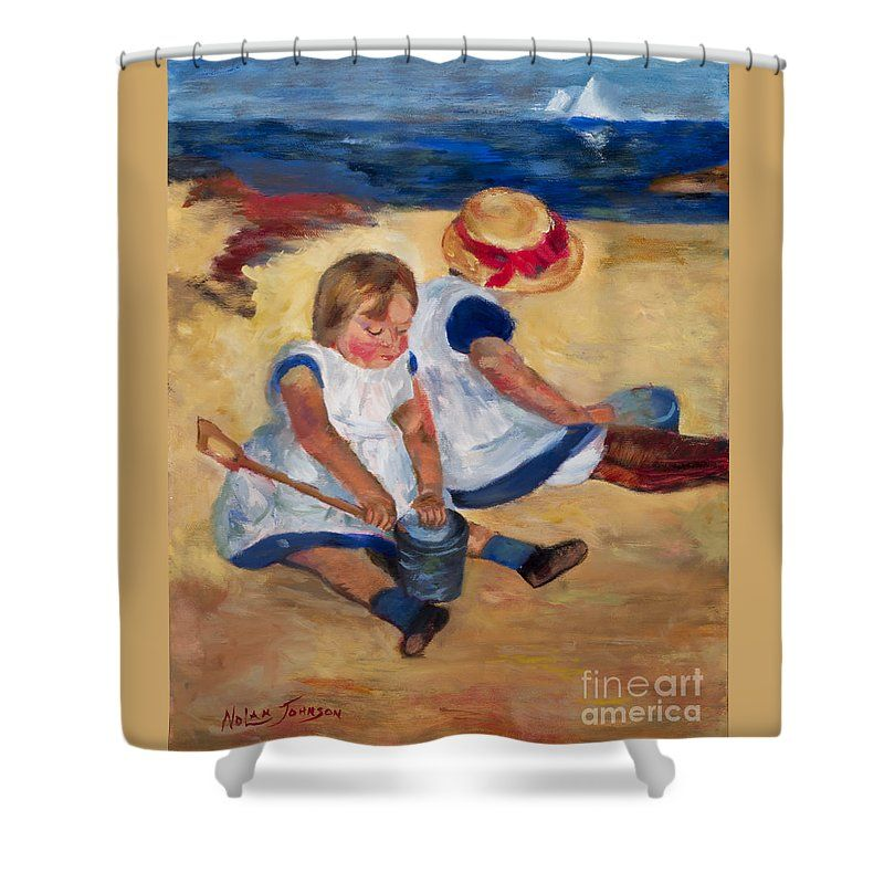 Art Shower Curtain featuring the painting Children Playing On The Beach After Mary Cassatt by Marilyn Nolan-Johnson