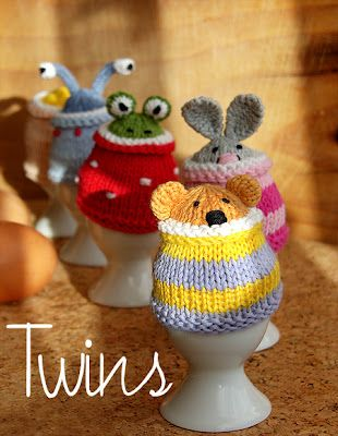 Twins' Knitting Pattern MiniShop: Funny Egg Cosy Gang (in English) These would be good for the Innocent Big Knit