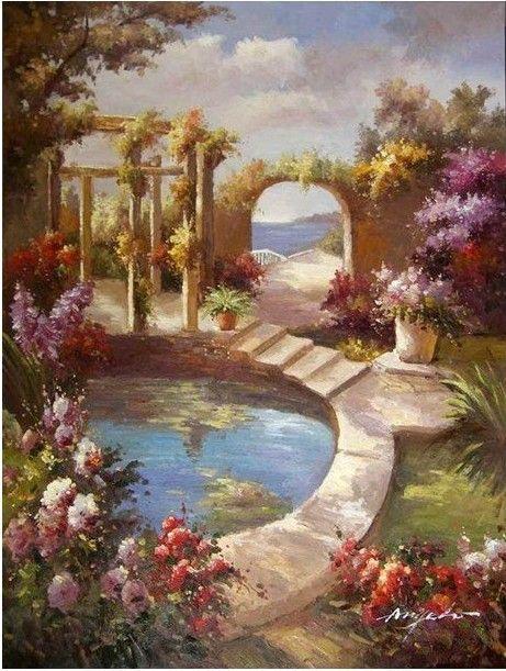 Italian Ocean Estate Lily Pond Flowers X-L Oil Painting