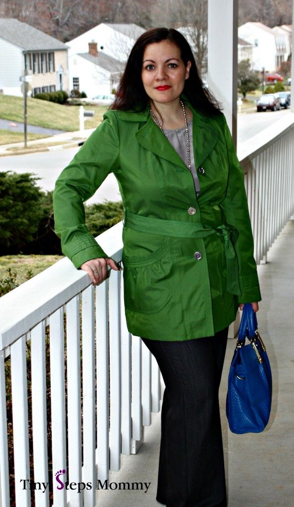 What I Wore: The Green Coat with Cobalt Blue Bag - #RealMomStyle - Tiny Steps Mommy