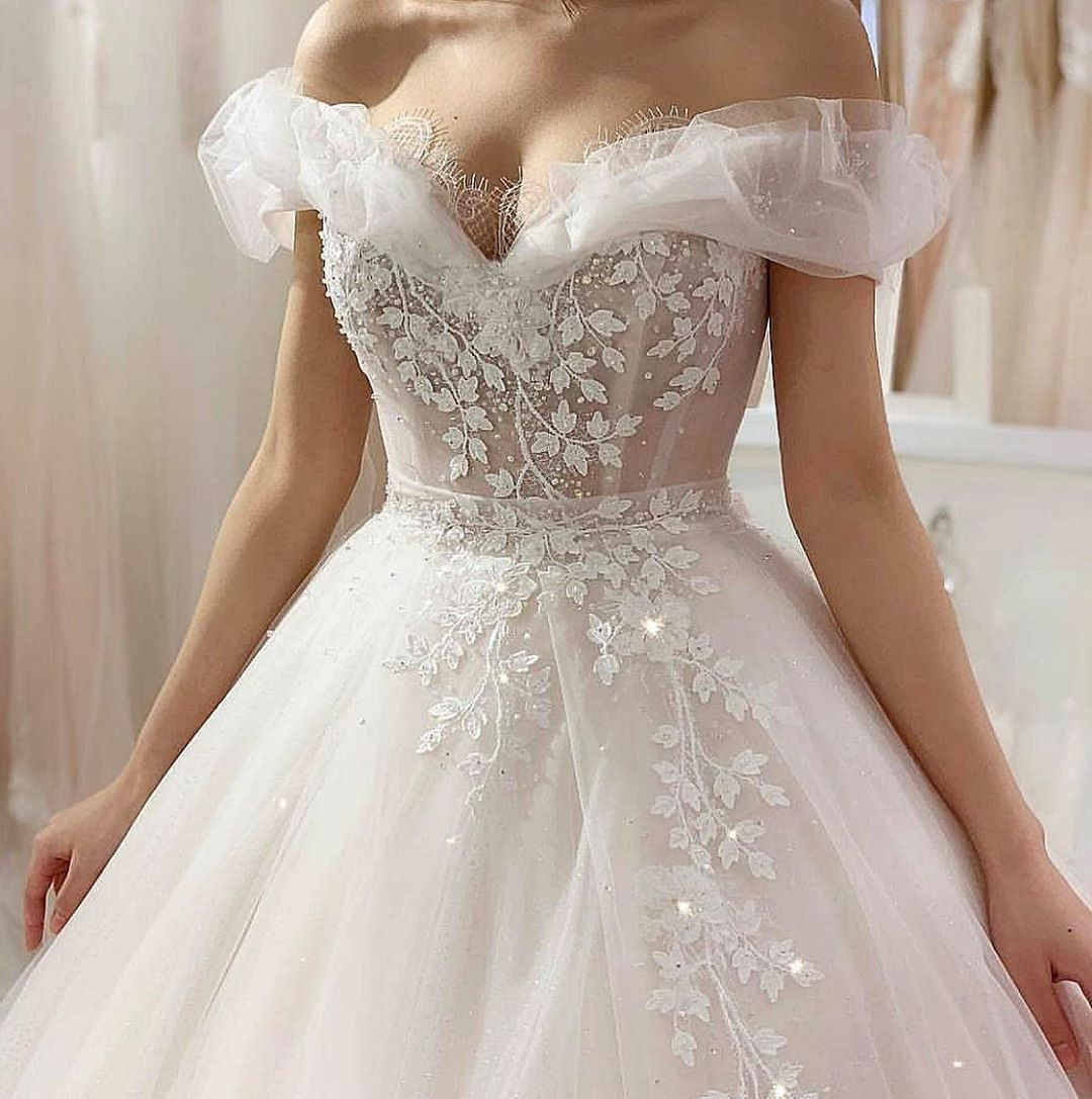 Off The Shoulder Wedding Dresses And Evening Wear Gowns Occasion Dresses Wedding Guest Wedding Dresses Fall Wedding Guest Dress [ 1087 x 1080 Pixel ]