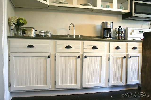 Beadboard Kitchen Cabinets DIY Beadboard Wallpaper Cabinets   Nest of Bliss | Beadboard