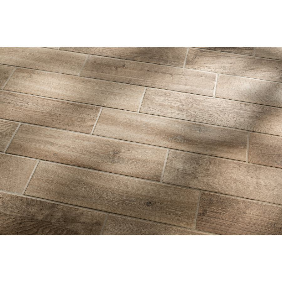 Shop Style Selections Woods Natural Porcelain Floor and Wall Tile ...