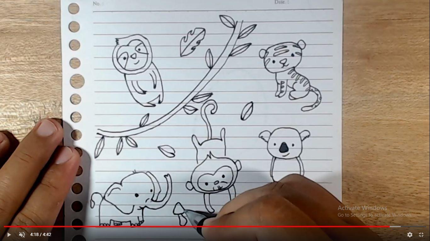 Cara Menggambar Doodle Lucu Hewan Hutan Rimba Monyet Kukang Koala Gajah Macan Doodle Koala Cara Menggambar