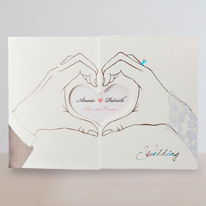 Black and White Pocket Elegant Heart Wedding Invitations - Cho 2683 ...