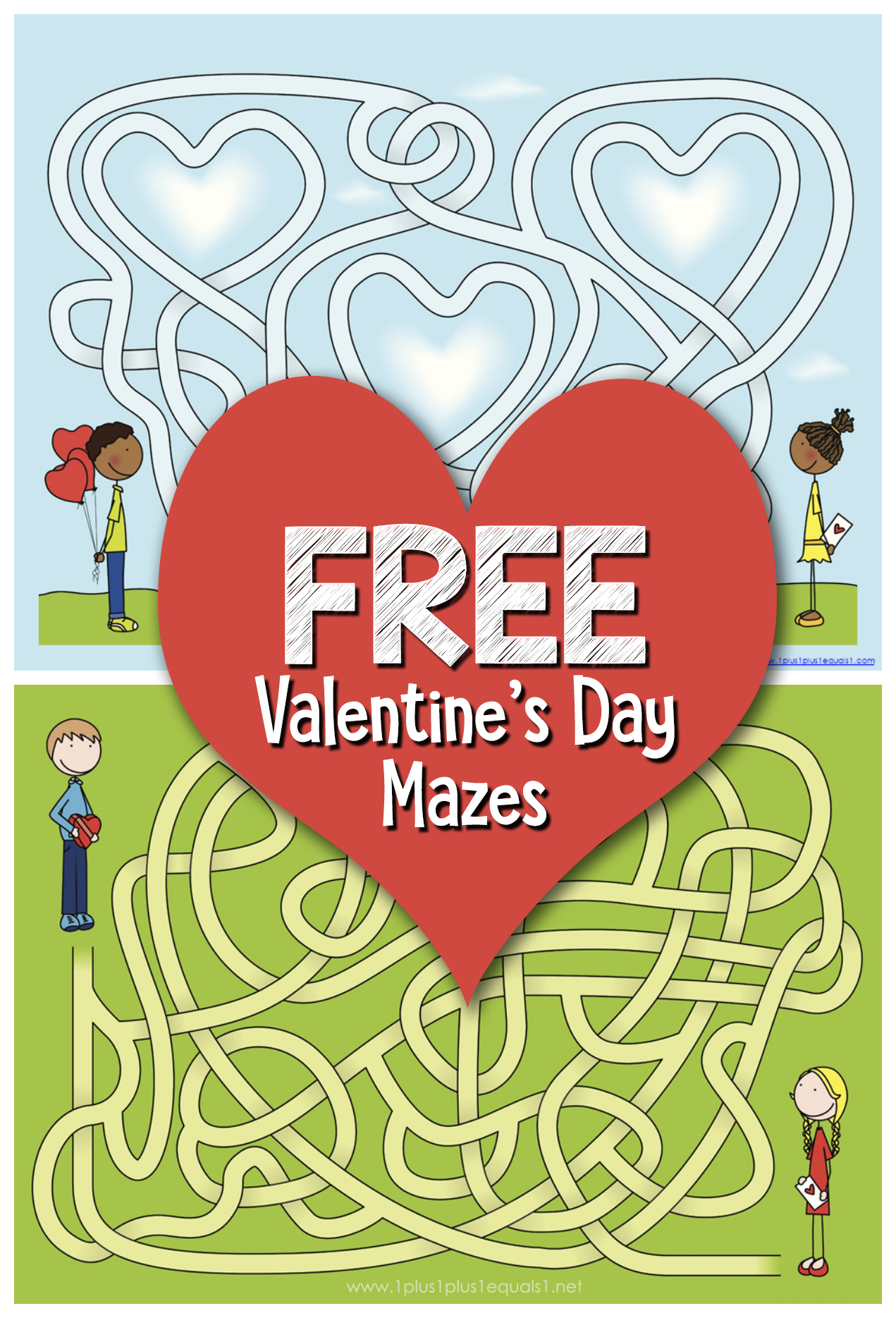 Free Valentine S Day Mazes 1plus1plus1 Homeschool