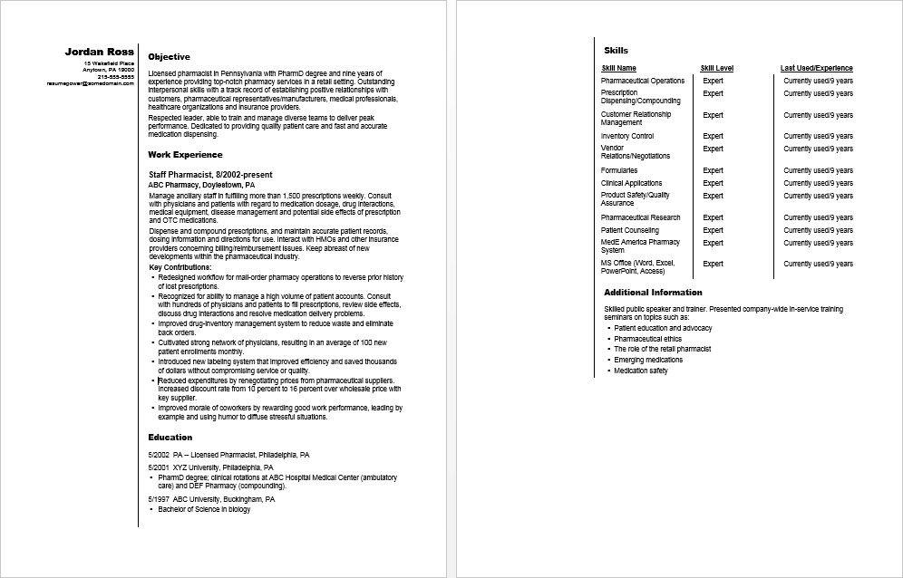 Pharmacist resume sample Resume help, Resume, Career advice