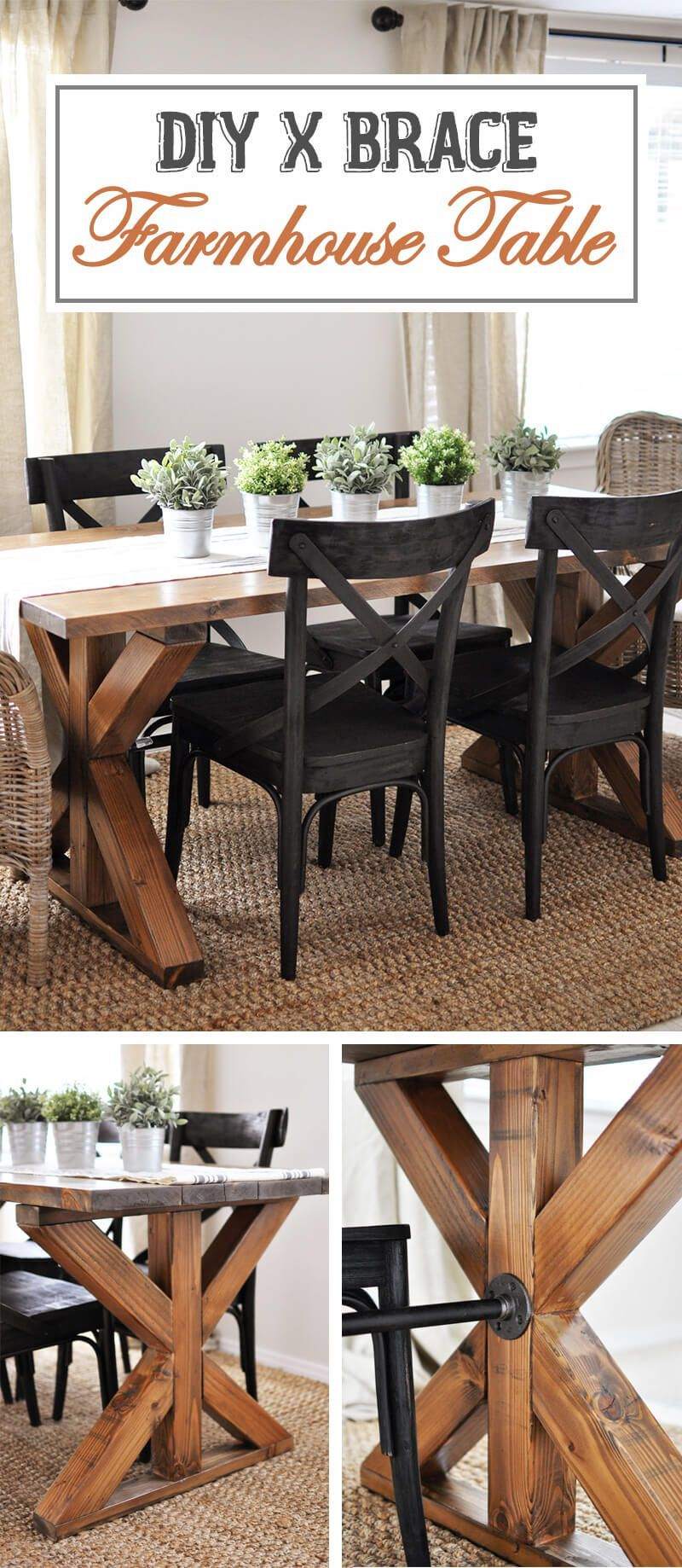 Xbrace Accent Farmhouse Table Design  Kitchen Ideas  Pinterest Inspiration Farm Style Dining Room Table Review